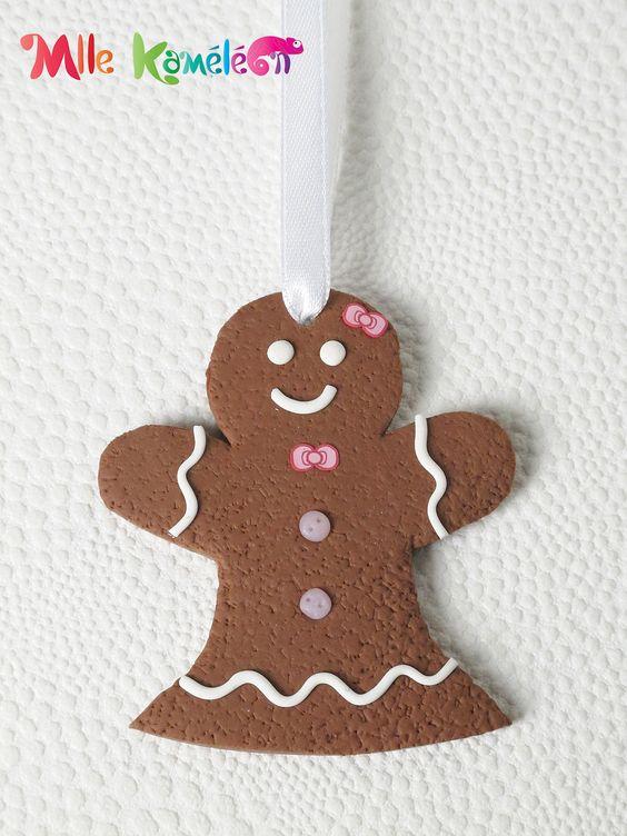 Décoration de Noël à suspendre bonhomme pain d'épices fille déco rose : Accessoires de maison par mllekameleon