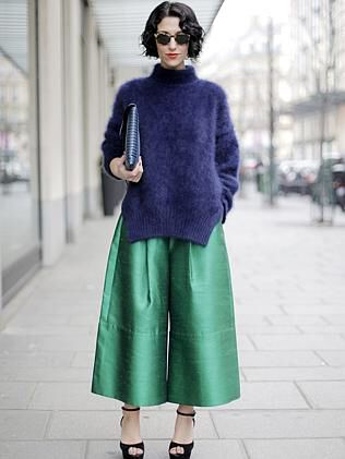 Green metallic Culottes