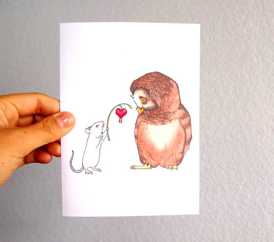 Romantic Owl And Mouse Card I Love You Card Paper