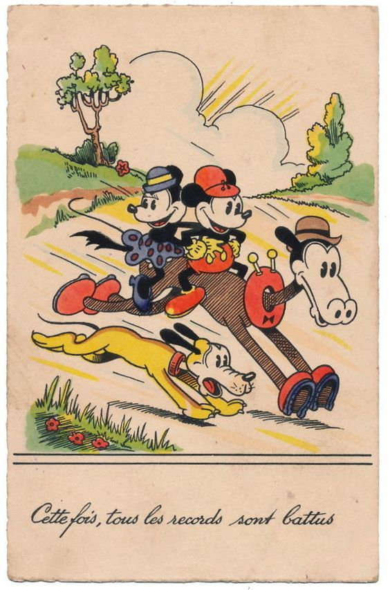 Disney Postcard - Mickey Mouse & Minnie Riding Horace Horsecollar