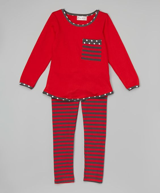 Another great find on #zulily! Red & Gray Stripe Goose Top & Leggings - Infant & Kids by Creative Cuties #zulilyfinds