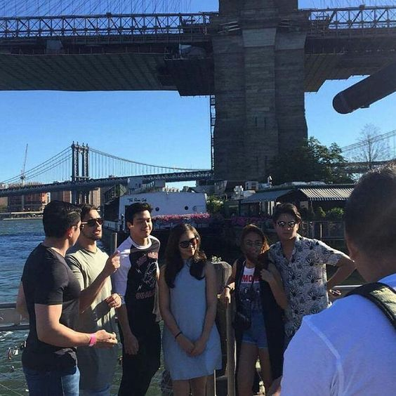 This is Piolo Pascual, Billy Crawford, Elmo Magalona, Janella Salvador, Kathryn Bernardo, and Daniel Padilla smiling for the camera while having a good time with the rest of the ASAP Kapamilya at Brooklyn Bridge before the start of rehearsals for ASAP Live in New York City last September 3, 2016. Indeed, they're another of my favourite Kapamilyas, and they're amazing Star Magic talents. #BillyCrawford #PioloPascual #DanielPadilla #KathNiel #KathNielBernaDilla #ElNella #ASAPLiveinNewYork