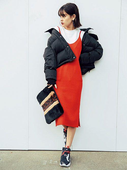 ファッション,ダウンジャケット,コート,アウター,着回し,冬コーデ,ViViモデル,emma,vivi1月号