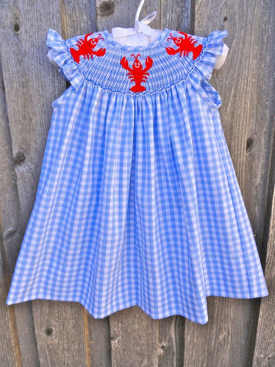Smocked Lobster (or Crawfish) Dress from Smocked Auctions