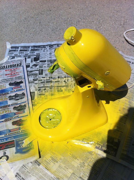 Paint my boring silver Kitchen Aid a super fun color (not this yellow though) - FINALLY!  I've hated my boring mixer since the day I bought it.