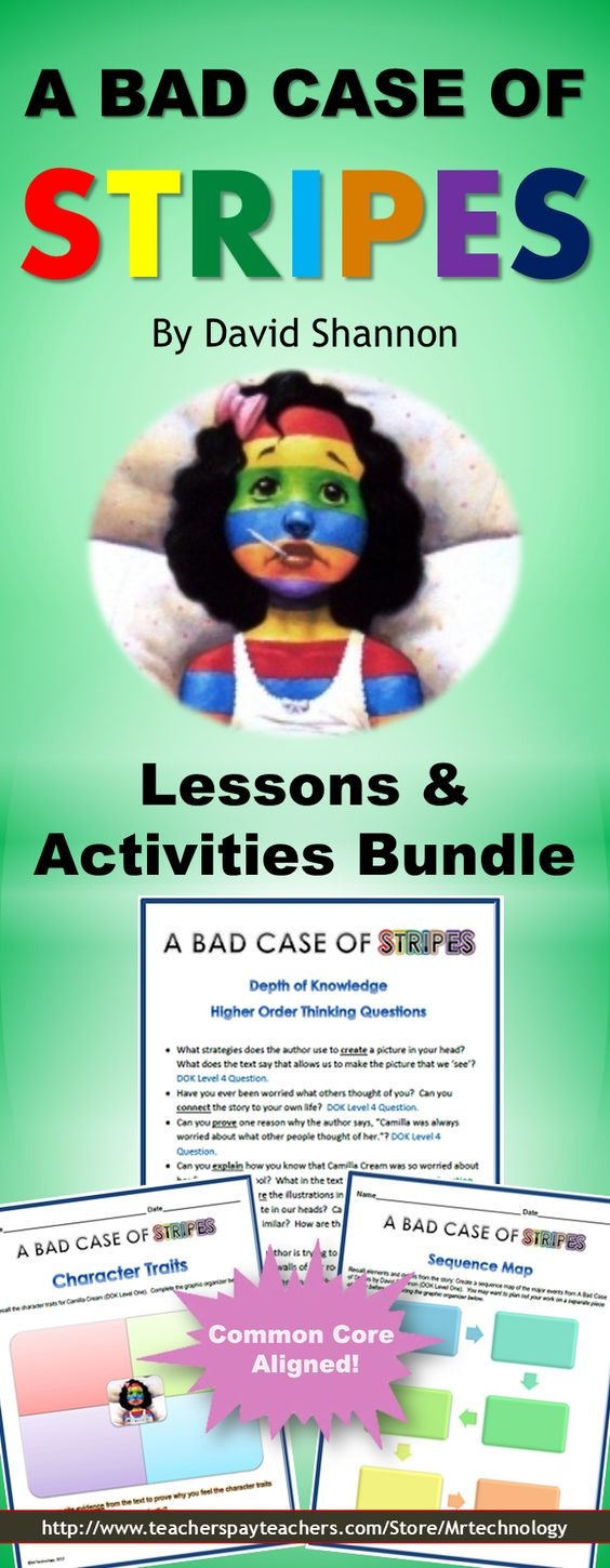 Bad case of stripes by david shannon reading lessons amp activities
