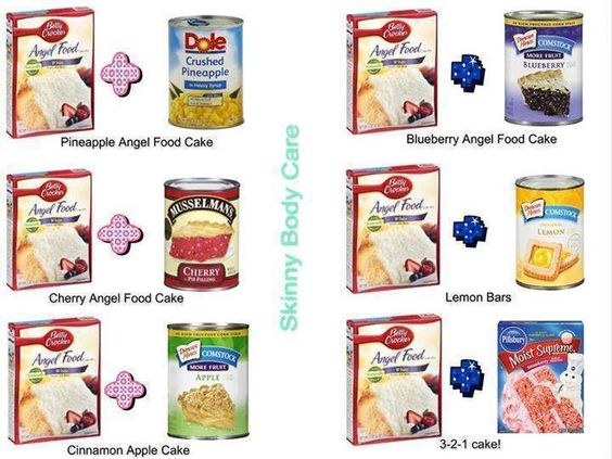 Pineapple Angel Food Cake Recipe:… Just two ingredients!! 1 large can crushed pineapple w/juice and 1 box angel food cake mix. Blend in large bowl and bake 350 for 30 min. in 9×13 ungrea…