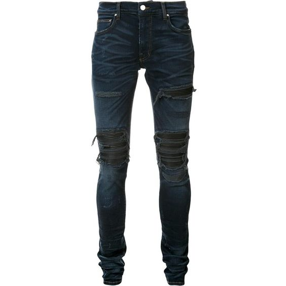 Amiri distressed skinny jeans ($1,510) ❤ liked on Polyvore featuring men's fashion, men's clothing, men's jeans, blue, mens blue skinny jeans, mens distressed jeans, mens ripped skinny jeans, mens torn jeans and mens destroyed jeans