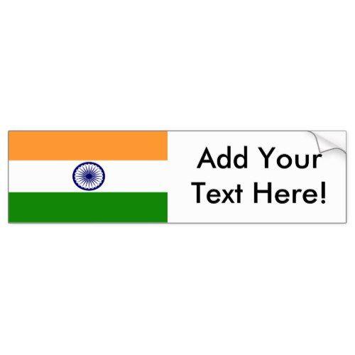 Flag Of India Bumper Sticker Zazzle Com Bumper Stickers Personalized Custom Flag