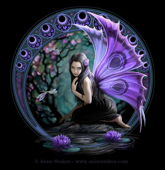 A Purple Nymph presiding over fountains, wells, springs, streams, brooks and other bodies of fresh water. - Anne Stokes: