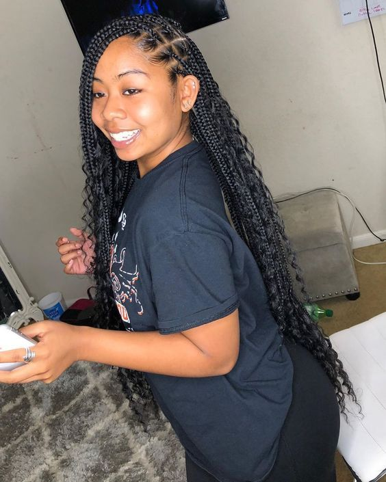 28 Knotless Box Braids Hairstyles You Can T Miss Fancy Ideas About Everything Black Girl Braided Hairstyles Braids For Black Hair Braids With Curls