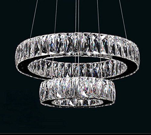 Dearlan Modern Big Crystal 2 Ring Chandeliers D19 7 11 8 Ceiling Lighting Fixture Chandelier Lightin Crystal Pendant Lighting Glass Pendant Lamp Lamps Fixtures