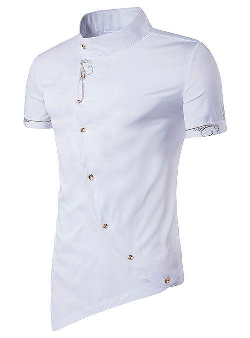Domple Mens Short Sleeve Stand Collar Button Up Embroidery Irregular Hem Shirt
