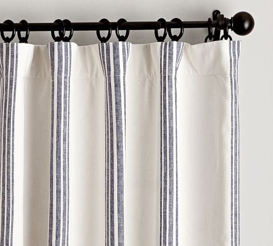 "$109 for 84"" panel, Pottery Barn, Riviera Stripe Drape with Blackout Liner, 50 x 84"