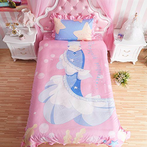 Mermaid Princess Teen Girls Rose Bedding Set Comforter Du…