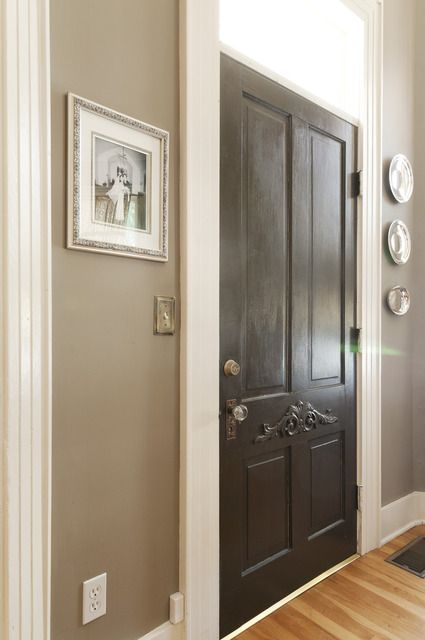 Greige Walls White Trim Black Door Wood Floors Paint Colors Pinterest House Tours