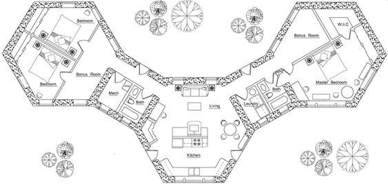 Earthbag Building: Pods House Plan