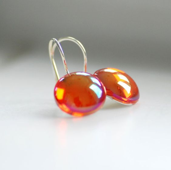 Dainty Earrings Orange Glass Cabochons and by WildWomanJewelry