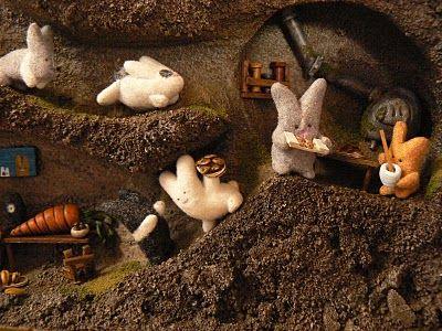 the bare bear lair: Hoppy Bunny Thanksgiving Dinner Diorama