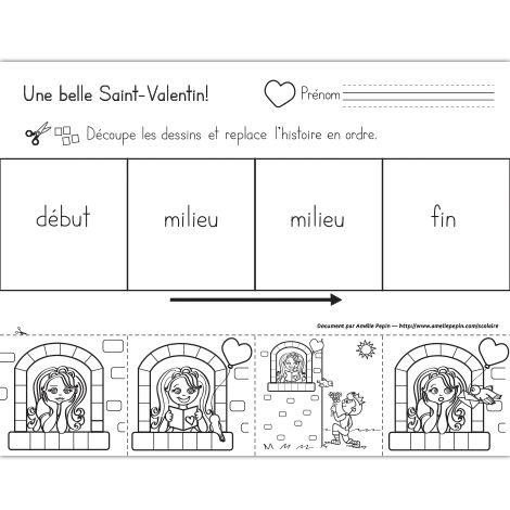 Fichier PDF téléchargeable En noir et blanc seulement 1 page  Voici une histoire séquentielle à 4 images sur le thème de la Saint-Valentin pour le préscolaire. L'élève découpe et replace les images en ordre.