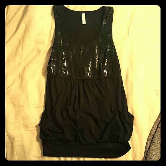 Black Sequin Top Casual or Formal Size M top is sequins bottom has one large pocket. The sequins do not go all the way around. Super cute and easy to dress up or down. Only tried on. Never worn. Tops Tank Tops