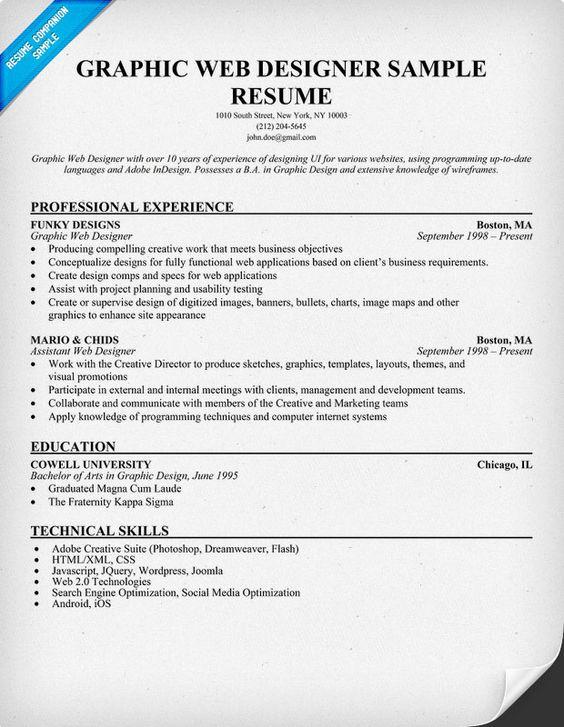 Graphic #Web Designer Resume Sample (resumecompanion) Resume - web resume examples