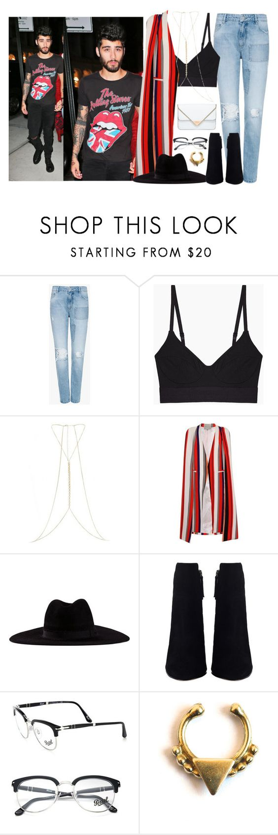 """New York, Look 2 (Night Look) - 10 September 2016"" by thisistheend ❤ liked on Polyvore featuring Zoe Karssen, Base Range, River Island, Topshop, Filù Hats, Persol, Forever 21 and Rebecca Minkoff"