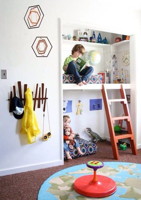 Such a cute reading nook for a kids room