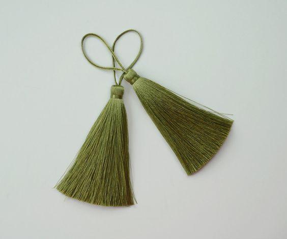 Olive Green Long Tassel Silk Dangle Trim Fringe Jewelry Making Fashion Pendant Sewing Embellishments 2 pieces by thaisawasdee on Etsy