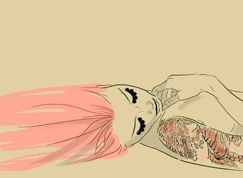 girl, tattoo, draw, pink