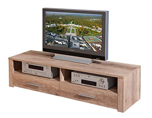 Links 22500800 TV Regal TV Board Hifi Tisch Schrank Media Rack Wildeiche Beige hochglanz modern | Unglaubliche TV Angebote