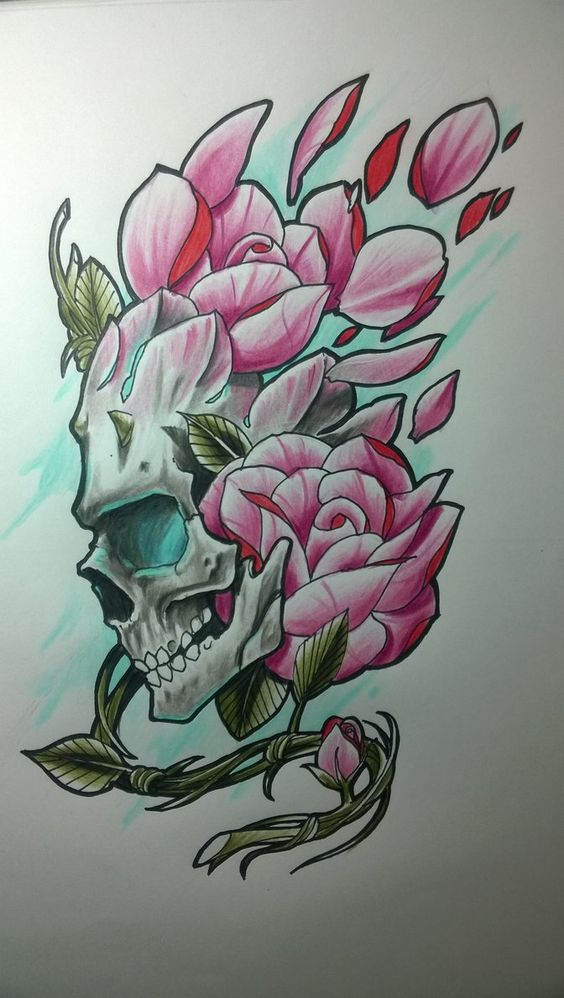 Hand Drawings Roses And Skulls: Tatoo, Skulls And Roses And Roses On Pinterest