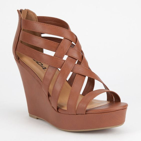Soda Jorgina Womens Wedges (£17) ❤ liked on Polyvore featuring shoes, sandals, heels, wedges, tan, tan strappy sandals, tan wedge sandals, wedges shoes, cross strap sandals and tan wedge shoes