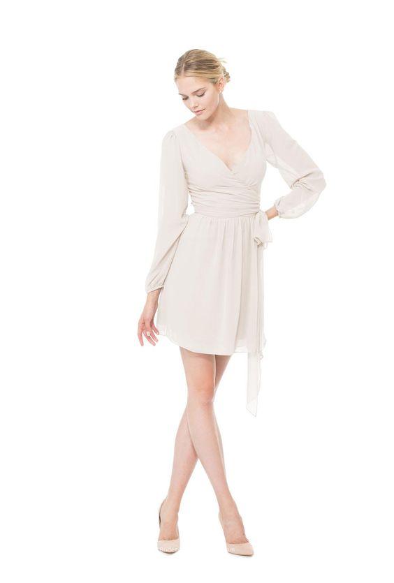 v neck tulip sleeve ruched short chiffon bridesmaid dress