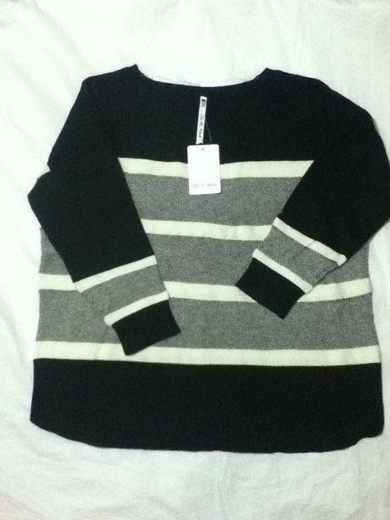Leo & Nicole Women's 3/4 Sleeve Black Striped Lightweight Sweater Large NWT #LeoNicole #BoatNeck