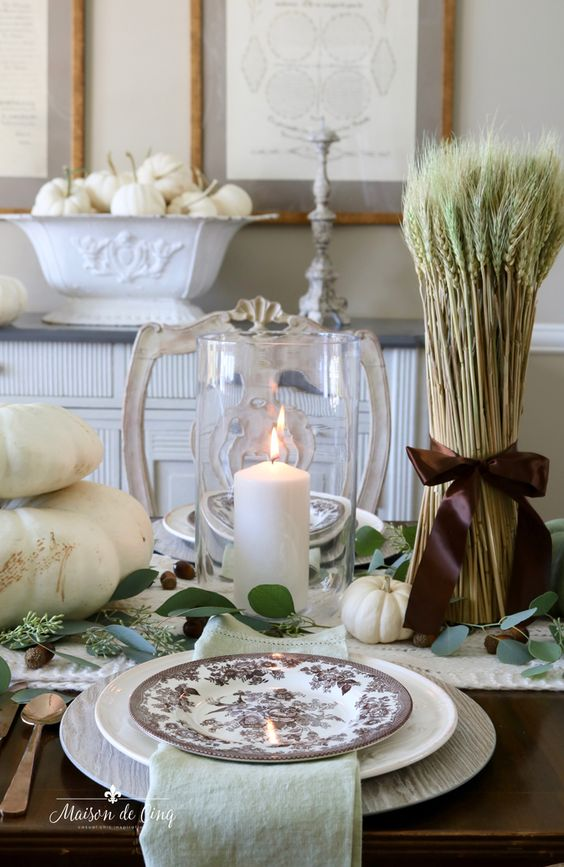Earthy & Warm Fall or Thanksgiving Table Setting! Tablescape in Earthy Greens and Browns---> #maisondecinq #tablescape #tablesetting #falltable #falltablescape #falltablesetting #frenchcountry #countryfrench #frenchfarmhouse #falldecor #falldecorating #fallentertaining #entertainingideas #falldecoratingideas #thanksgivingtable #thanksgivingtablescape #thanksgivingtablesetting