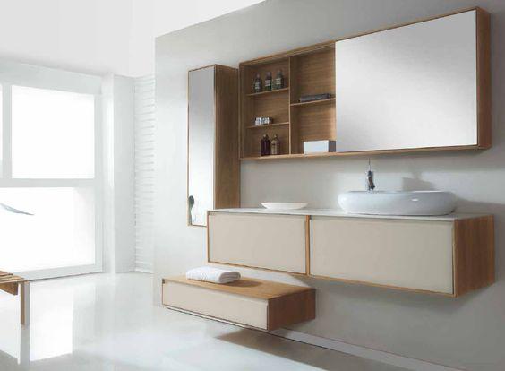 Mueble de ba o dos muebles en nogal blanco con gris hielo for Mueble espejo bano ikea