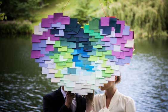 See how to make this DIY Post-it heart piñata! #MarthaStewartWeddingsMagazine