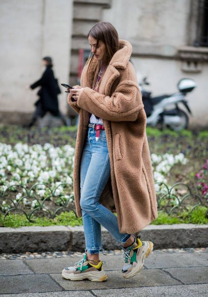 Carlotta Oddie wearing Max Mara coat seen outside Blumarine during Milan Fashion Week Fall/Winter 2018/19 on February 23 2018 in Milan Italy