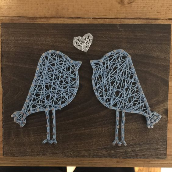 On pinterest nursery art nursery artwork and playroom wall decor - Love Bird String Art By Heisernherbert On Etsy Diy