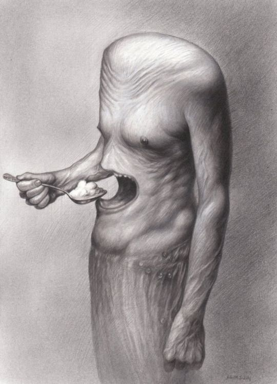 Agim Sulaj (Albanian, b. 1960, Tirana, Albania) - Hunger   Drawings: Technical Pencils, Acrylics on Paper: