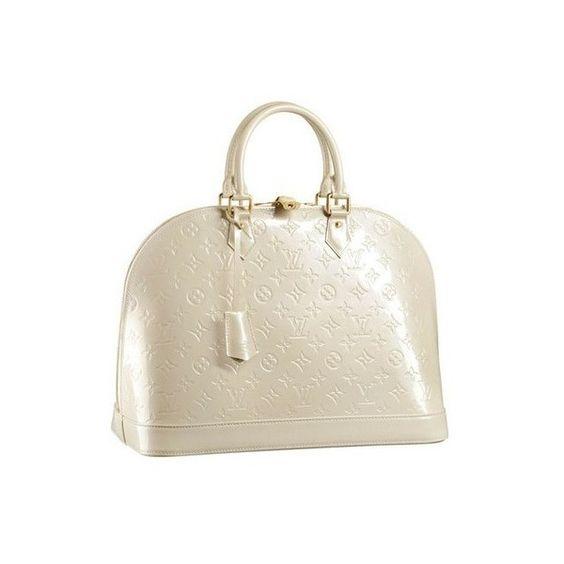 Louis Vuitton Monogram Vernis Alma MM Blanc Corail
