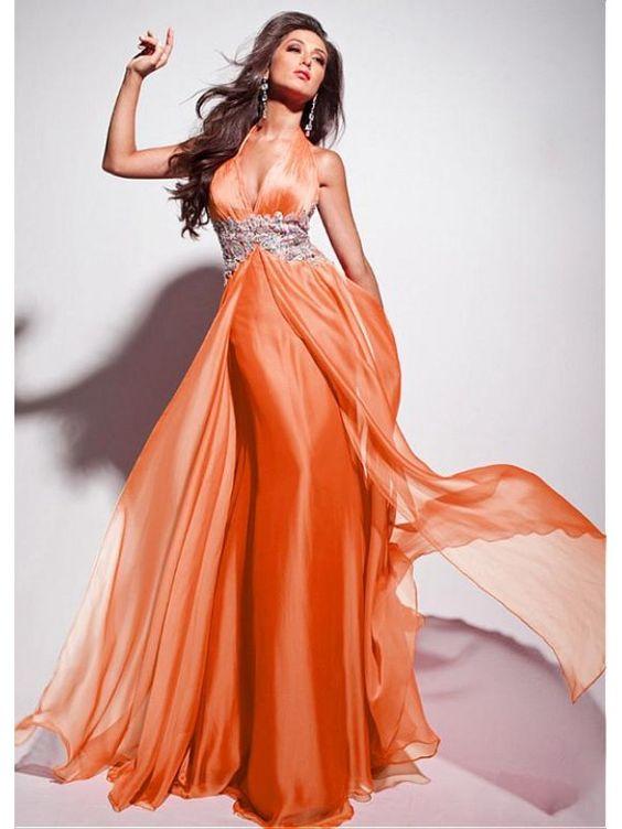 Alluring Silk Like Chiffon & Stretch Satin Halter Neckline Floor-length Evening Dress Ball Dresses