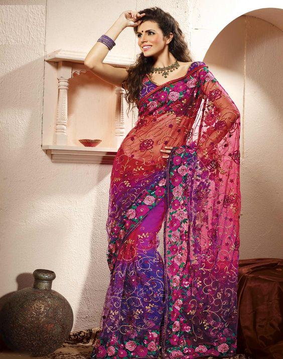 Red and Purple Net Saree