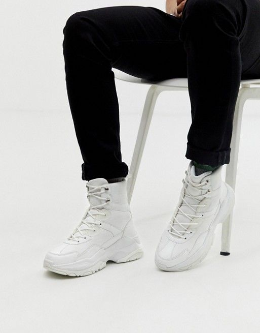 ASOS DESIGN high top trainers in white