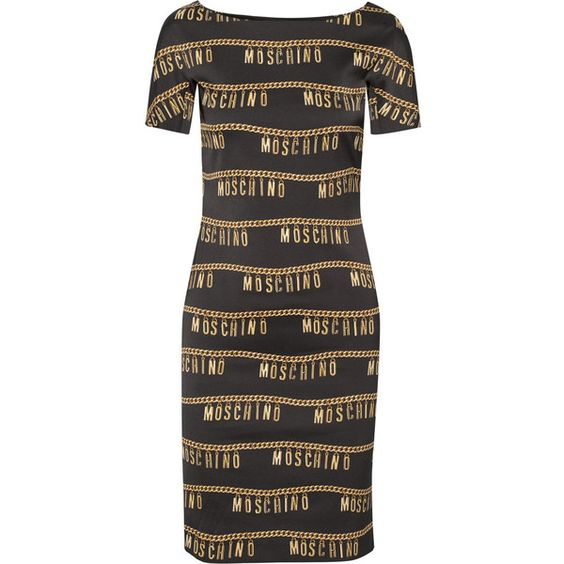 Moschino Printed stretch-crepe dress (€780) ❤ liked on Polyvore featuring dresses, black, print dress, slim fit dress, moschino, pattern dress and slimming dresses