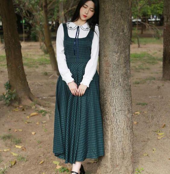 Mori menina do vintage todo o jogo padrão de xadrez gola boneca bordado longo fino falso dois dress 2016 nova primavera d1180