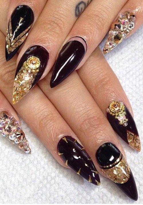 Black Gold Nails Gold Nail Art Black Gold Nails Gold Nails