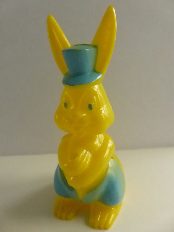 Vintage 50s Yellow Easter Bunny with Top Hat Candy by papertales, $7.75