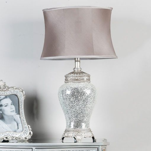 Silver Sparkle Mosaic Antique Regency Lamp With Silver And